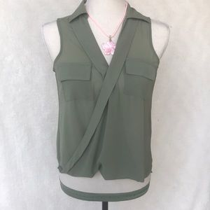 Charlotte Russe Olive Green Sheer sleeveless Top